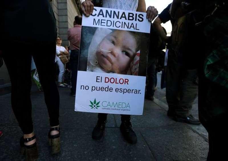 Distintas organizaciones se acercaron hoy al Congreso para presenciar la sesión en la que se aprobó el uso de cannabis medicinal en la Argentina. Foto: REUTERS/Marcos Brindicci